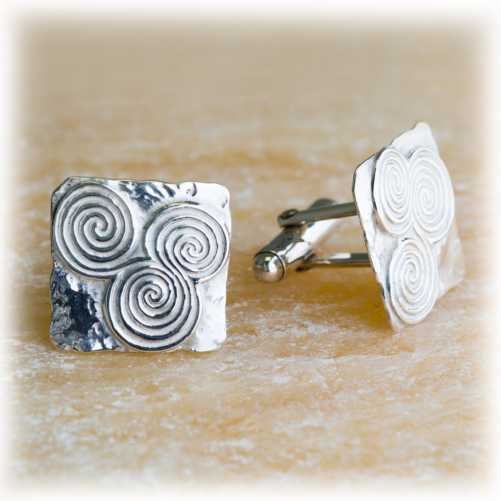 Newgrange Triple Spiral Square Cuff-Links