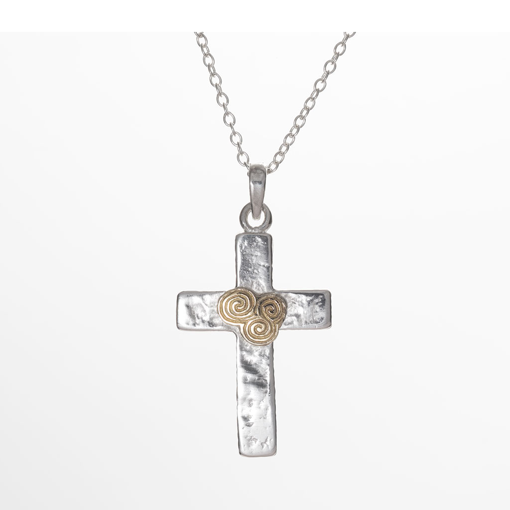 Cross With 9ct Gold Triple Spiral