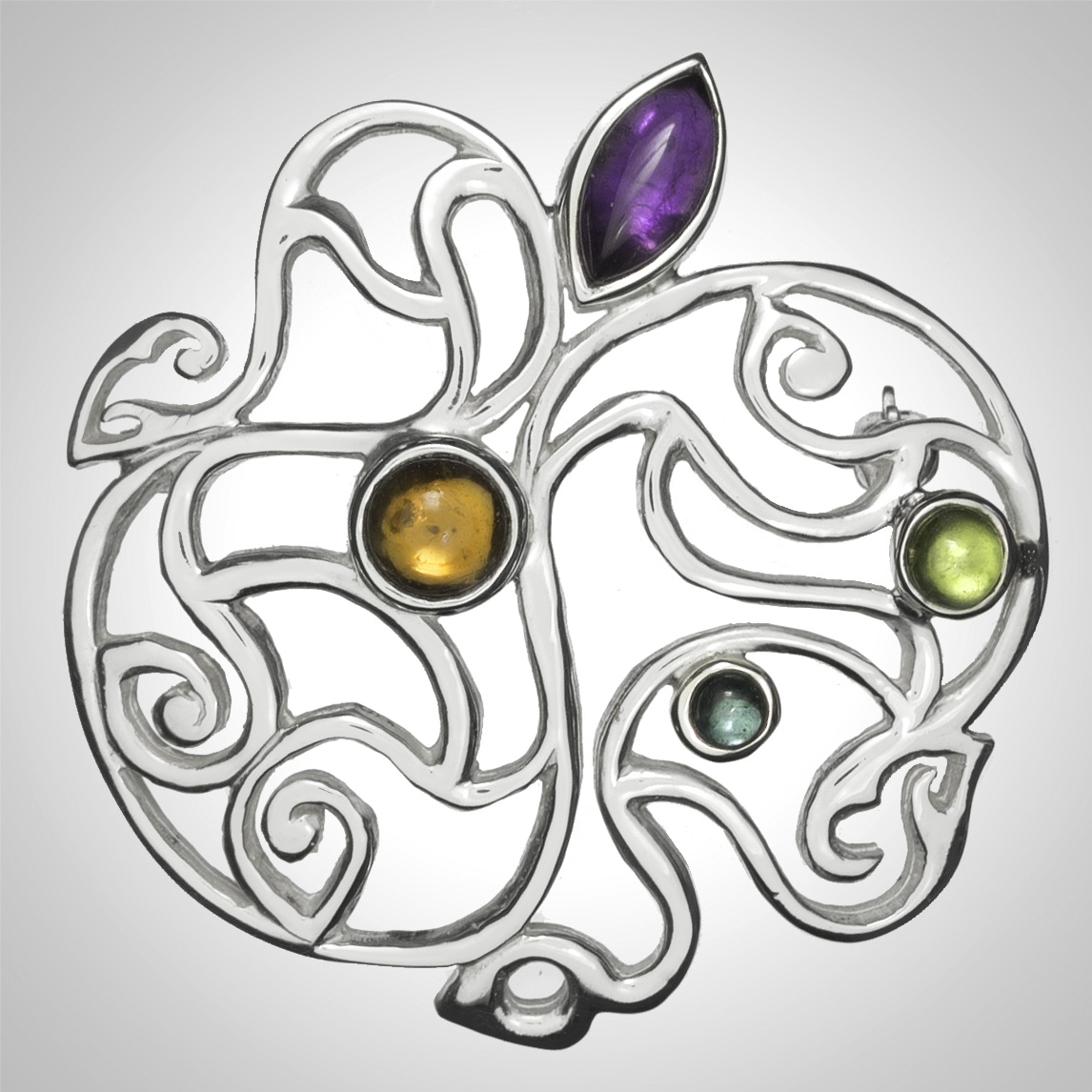Silver Celtic Gemstone Openwork Brooch