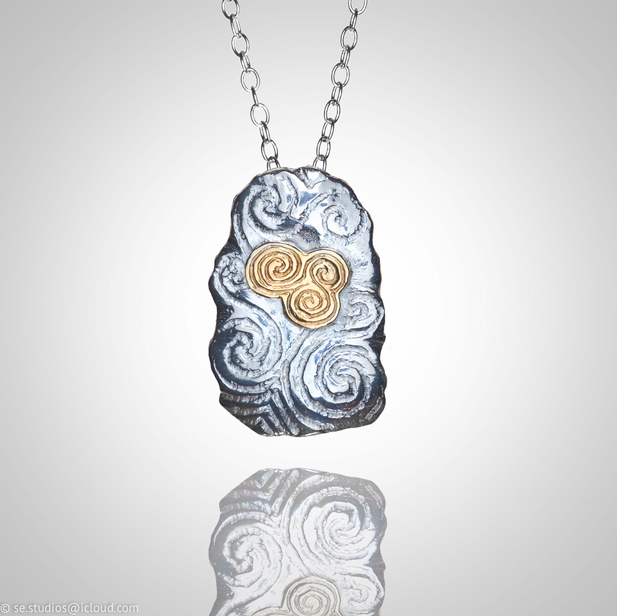Newgrange Inspired Silver with 9ct Gold Pendant