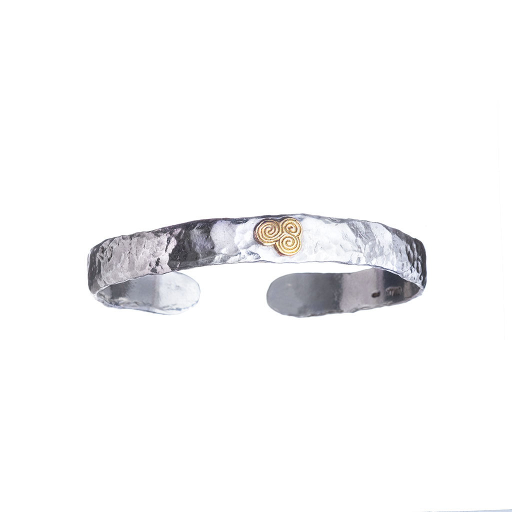 Silver with Gold, Newgrange Bangle.