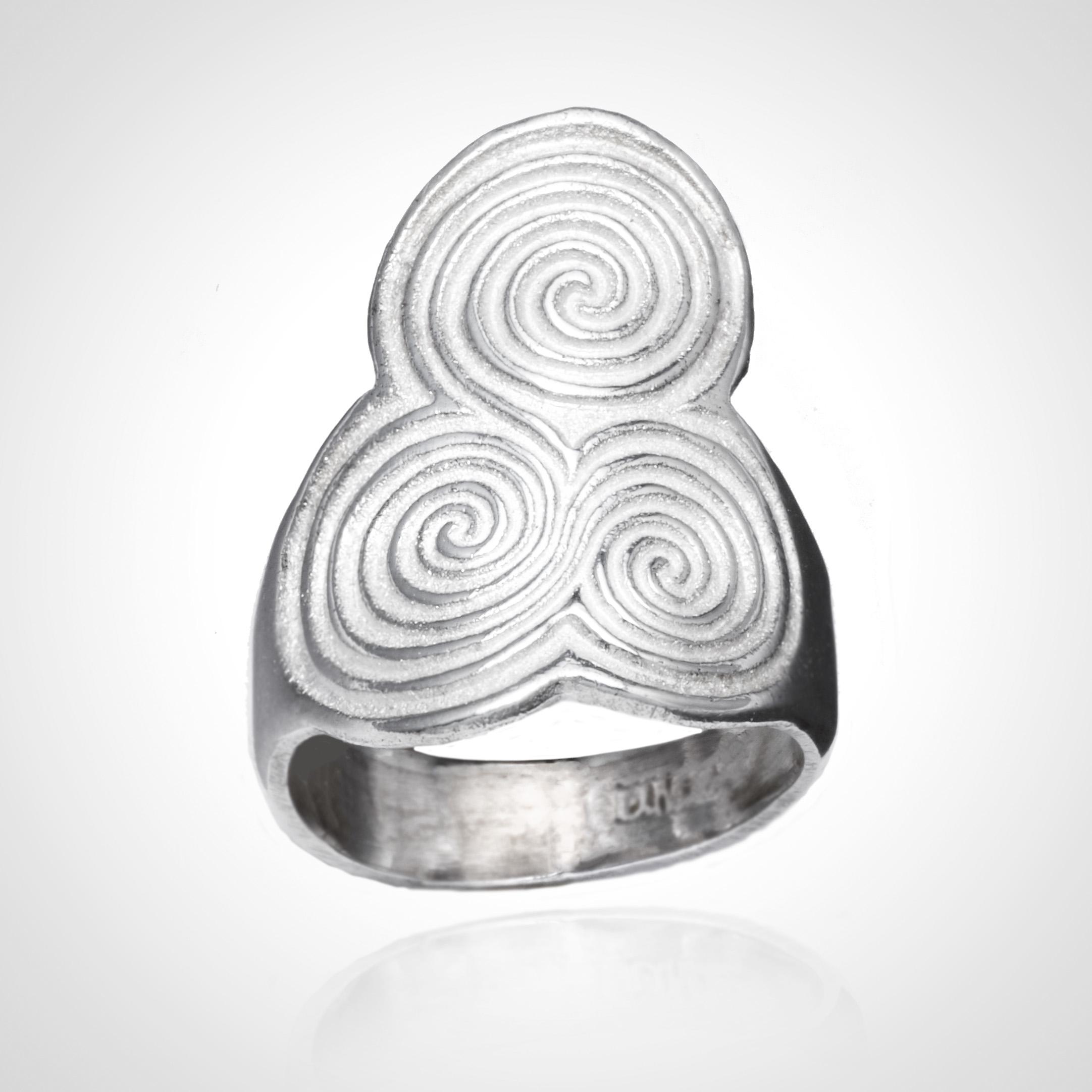 Silver Newgrange Triple Spiral Ring.