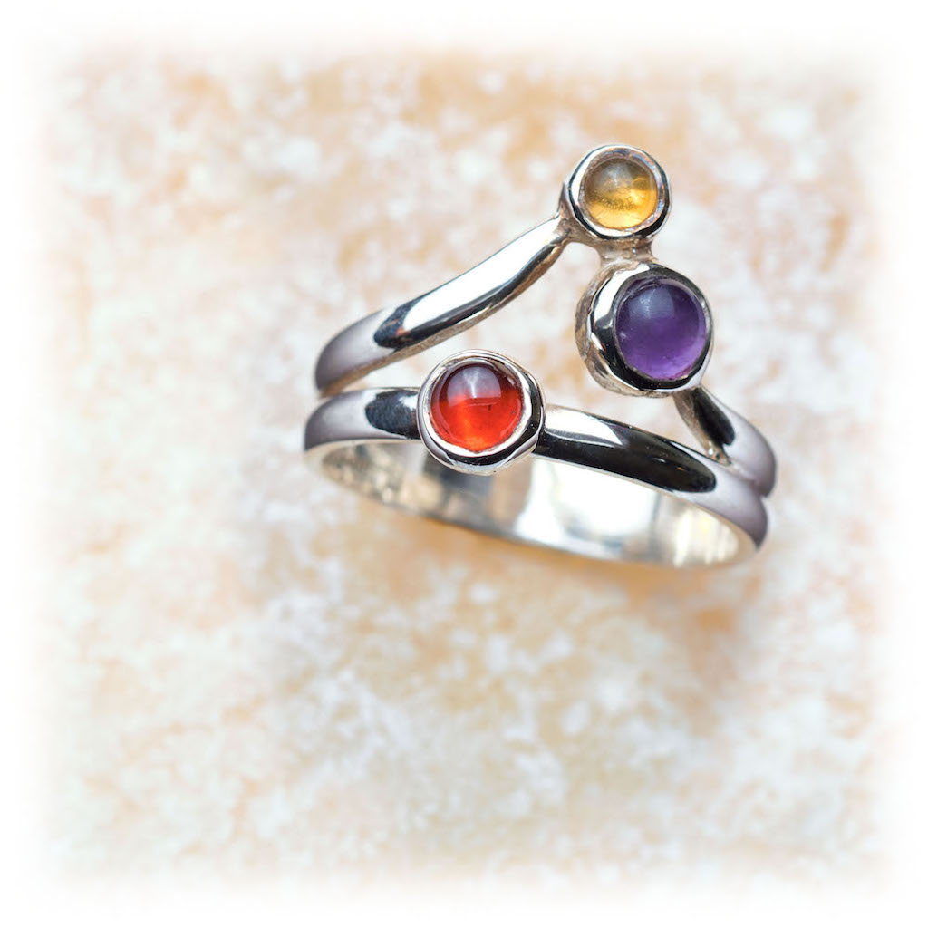 Silver Three Stone Ring,