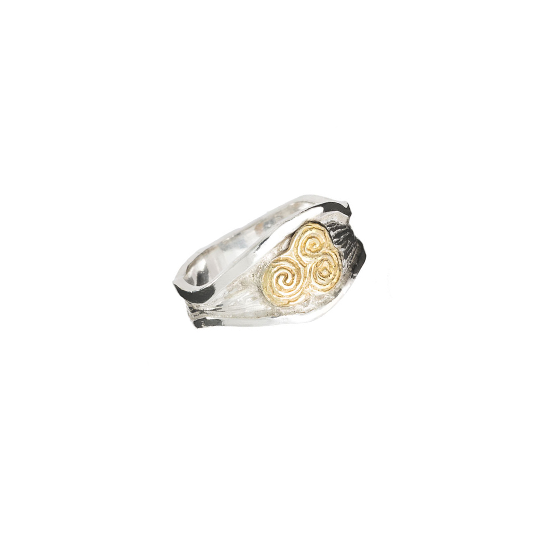 Silver River Ring with 9ct Gold Energy Spiral