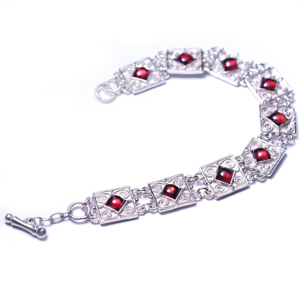Silver Garnet Filigree Bracelet
