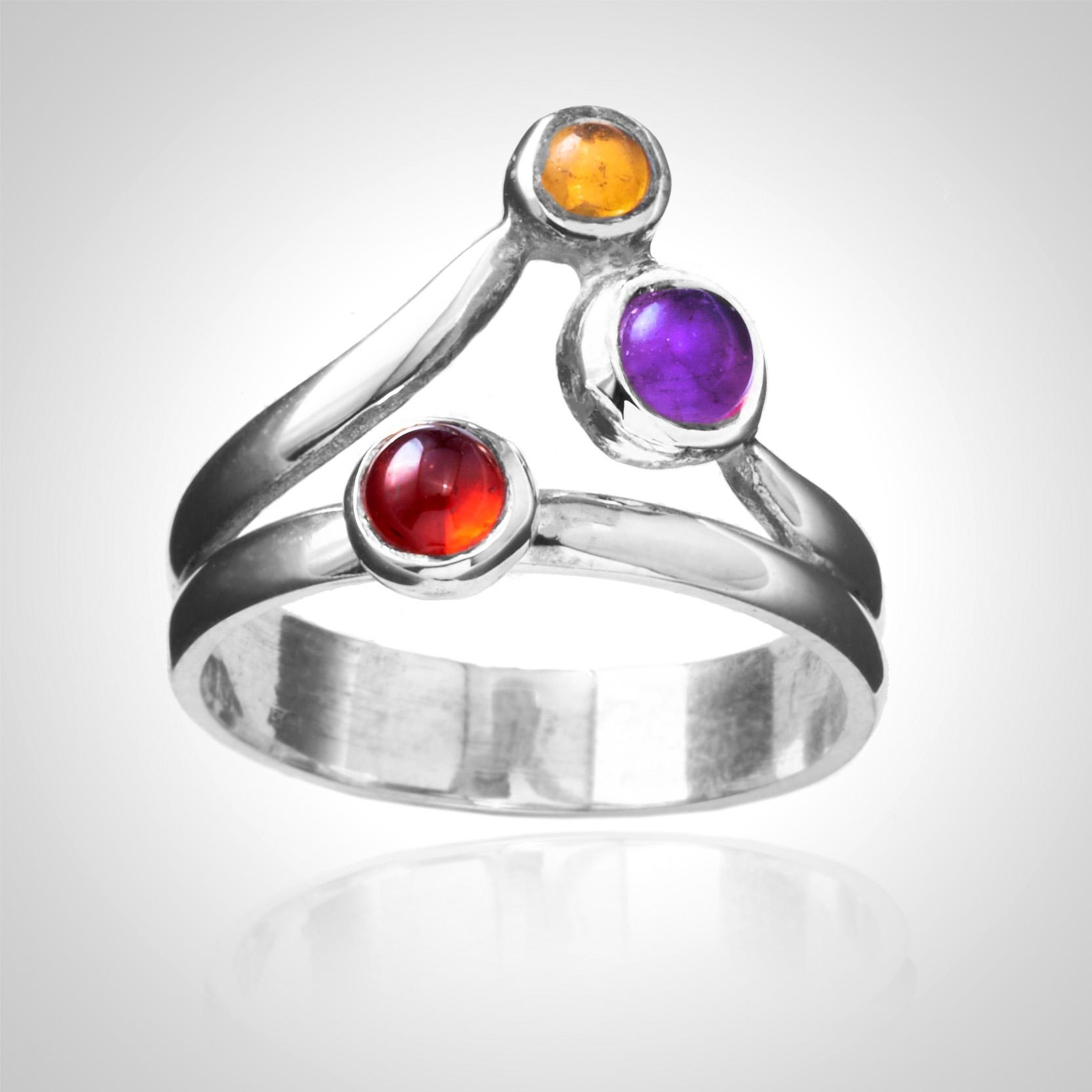 Gemstone trinity ring
