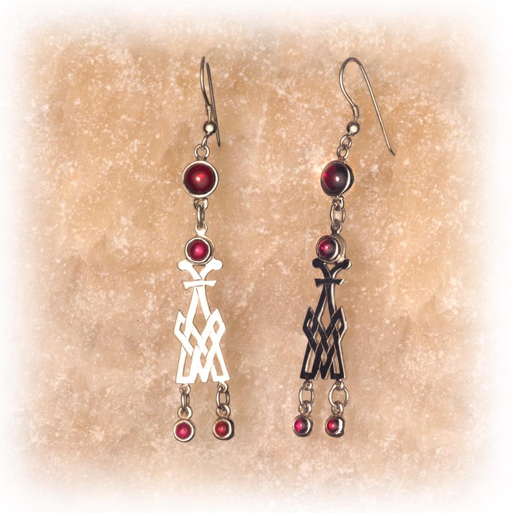 Book of Kells, Silver and Garnet Earrings