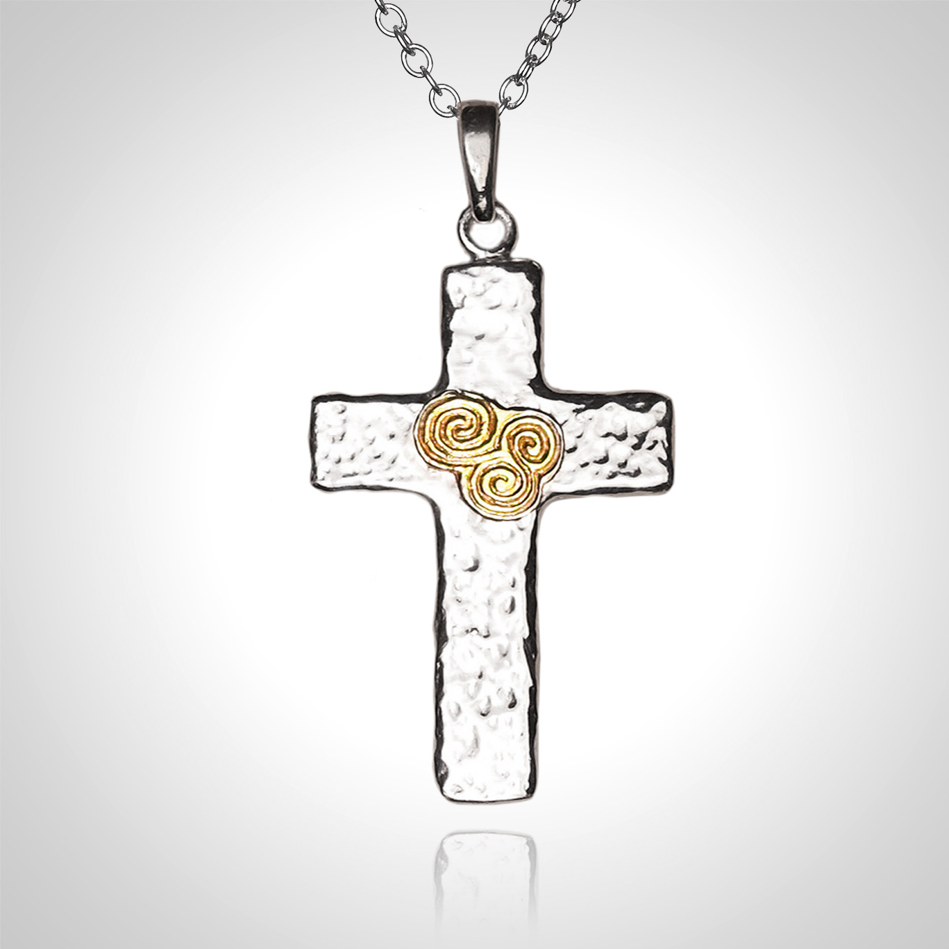 Silver with Gold Cross