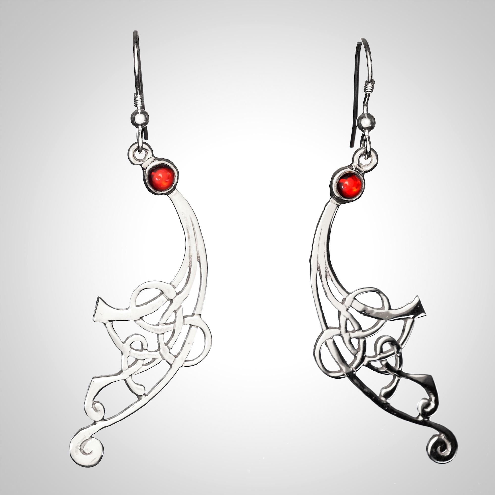 Silver and Garnet Earrings