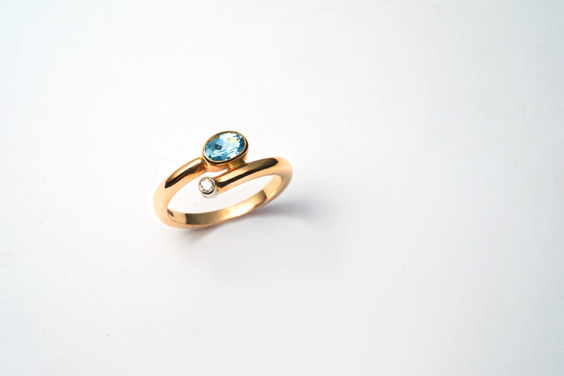 Blue Aquamarine and Diamond