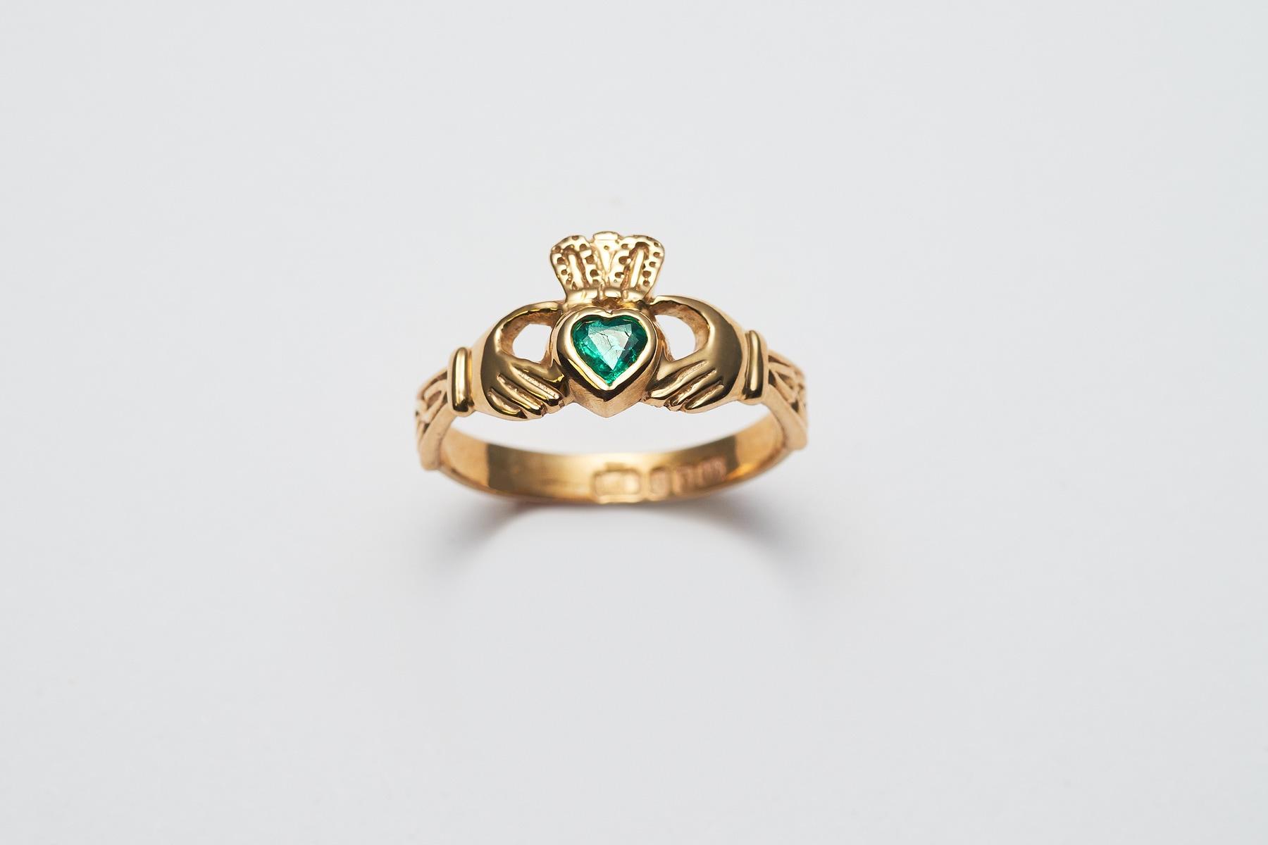 Emerald and Diamond Claddagh Ring.