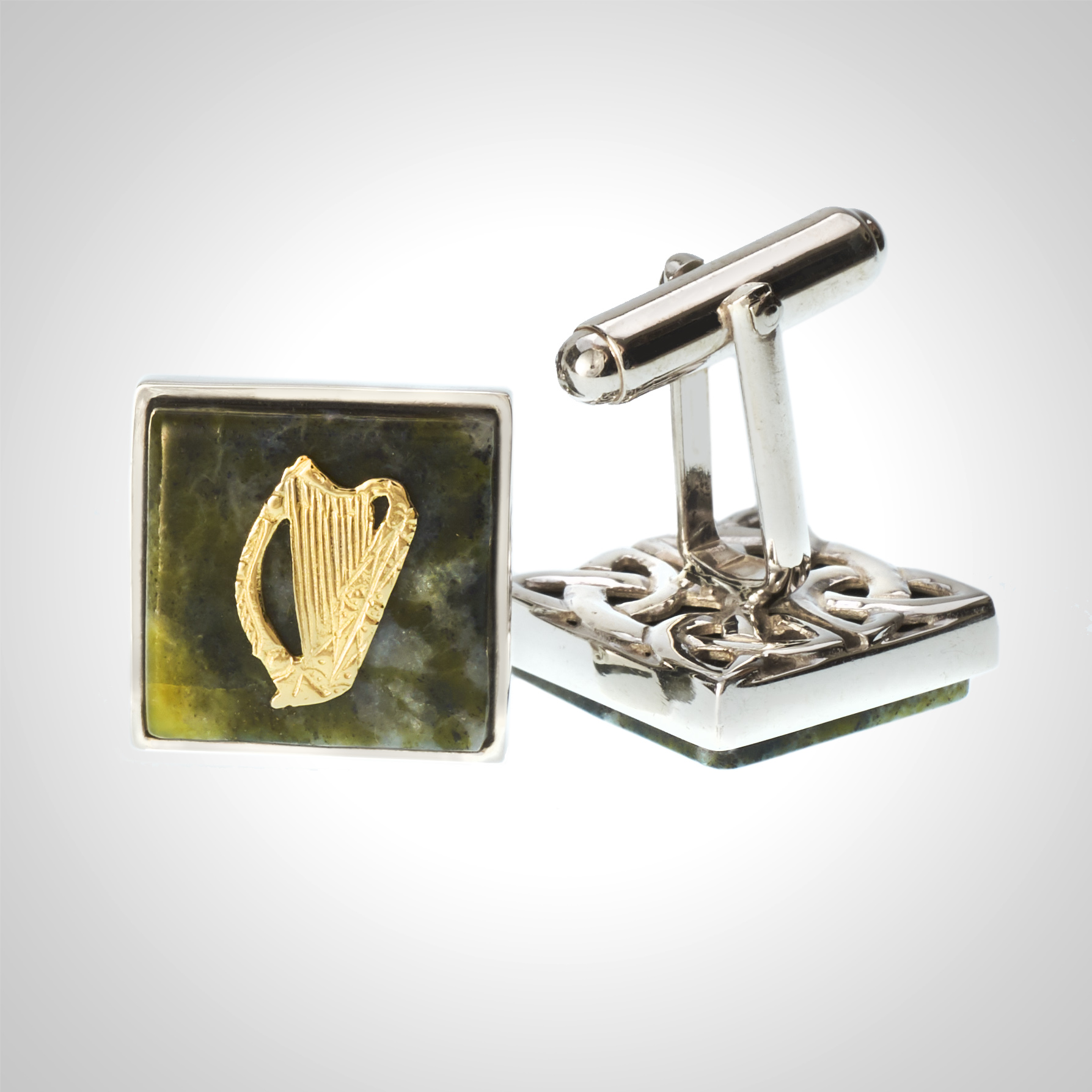 Connemara Marble and Gold Harp Cuff links